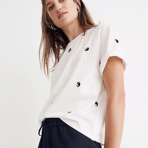 MADEWELL: Embroidered Yin-Yang Boxy Cropped Tee